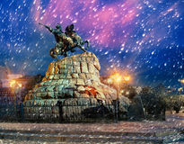 Bogdan Hmelnitsy. Rider on Sofia square, Earth covers the first snow-soon Christmas and New Year, and monuments of Kiev Ukroyut beautiful fluffy carpet Royalty Free Stock Images