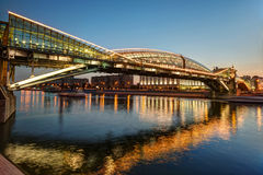 Bogdan Khmelnitsky Bridge At Night In Moscow Stock Photo