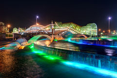 Bogdan Khmelnitsky bridge and fountain at night in Moscow. Bogdan Khmelnitsky bridge and fountain at night on august 20, 2013 in Moscow. It is a beautiful Stock Photos