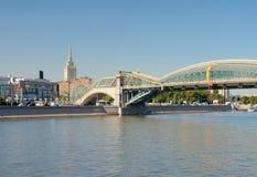 Bogdan Khmelnitsky Bridge and Hotel Ukraina Stock Images