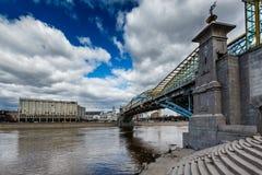 Bogdan Khmelnitsky Bridge and Kievsky Railway Station. In Moscow, Russia Royalty Free Stock Photo