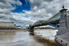 Bogdan Khmelnitsky Bridge and Kievsky Railway Station in Moscow. Russia Royalty Free Stock Photos