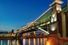 Bogdan Khmelnitsky bridge at night in Moscow Stock Photos