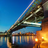 Bogdan Khmelnitsky bridge at night in Moscow Royalty Free Stock Images