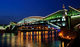 Bogdan Khmelnitsky bridge at night in Moscow Royalty Free Stock Image