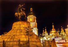 Bogdan Khmelnitsky Equestrian Statue Saint Sophia Kiev Ukraine fotografia stock