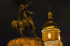 Bogdan Khmelnitsky Equestrian Statue Saint Sophia Kiev Ukraine immagini stock libere da diritti