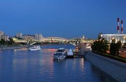 Bogdan Khmelnitsky Kievsky Pedestrian Bridge, Moscow, Russia Stock Photography