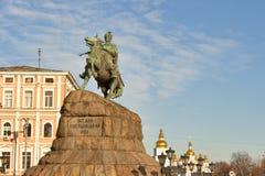 Bogdan Khmelnitsky monument in Kiev, Ukraine. stock photo
