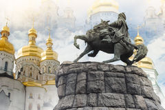 Bogdan Khmelnitsky monument with Lavra. Royalty Free Stock Photography