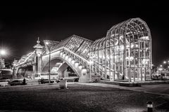 Bogdan Khmelnitsky most przy nocą w Moskwa Fotografia Stock
