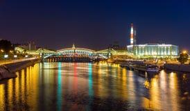 Bogdan Khmelnitsky Pedestrian Bridge in Moskou Stock Foto's