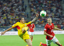 Bogdan Stancu and Caner Erkin in Romania-Turkey World Cup Qualifier Game Royalty Free Stock Photos