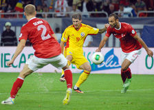 Bogdan Stancu and Omer Toprak in Romania-Turkey World Cup Qualifier Game Royalty Free Stock Photos