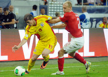 Bogdan Stancu and Semih Kaya in Romania-Turkey World Cup Qualifier Game Stock Photos