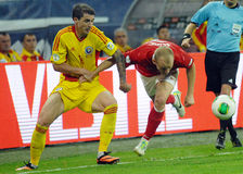 Bogdan Stancu and Semih Kaya in Romania-Turkey World Cup Qualifier Game Royalty Free Stock Images