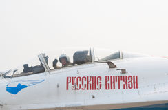 A. Bogdan in Su-27 cockpit Royalty Free Stock Photos