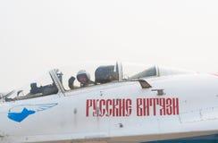 A. Bogdan in Su-27 cockpit Royalty Free Stock Photos