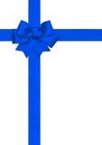 Bogen des blauen Bandes lokalisiert auf Weiß Lizenzfreies Stockfoto
