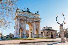 Bogen des Friedens des Sempione Gatters in Mailand, Italien Stockfotografie