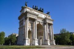 Bogen des Friedens des Sempione Gatters in Mailand, Italien Stockfoto