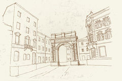 Bogen des Golden Gate Sergii in den Pula kroatien Lizenzfreies Stockfoto