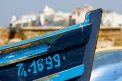 Bogen eines Fischerbootes in Essaouira-Hafen, Marokko lizenzfreie stockbilder