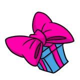 Bogen-Geschenkkarikatur des Glückes große rosa Lizenzfreie Stockbilder