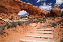 Bogen-Nationalpark nahe Moab Lizenzfreie Stockfotos