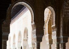 Bogen van Hof van de Leeuwen in Alhambra Granada, Spanje royalty-vrije stock afbeeldingen
