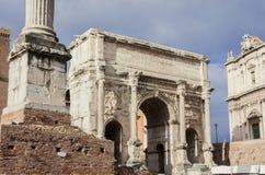 Bogen von Septimius Severus Stockbilder