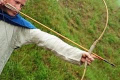 Bogenschütze, der Bogen zielt Lizenzfreies Stockbild