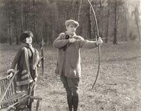 Bogenschießen-Lektion lizenzfreie stockbilder
