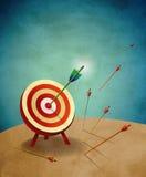 Bogenschießen-Ziel mit Pfeil-Abbildung Stockbild