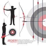 Bogenschießensport silhouettiert Illustrationsvektor Stockbilder