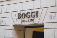 Boggi米兰商店的男服标志 库存图片