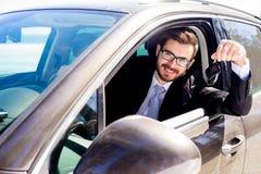 Boght feliz del hombre apenas el coche Fotografía de archivo libre de regalías