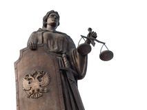 Bogini sprawiedliwość Themis z osłoną odizolowywającą na białym tle Obrazy Royalty Free