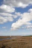 Bogland mit Windkraftanlagen Lizenzfreie Stockfotos