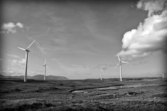 Bogland with wind turbines in black and white Royalty Free Stock Photos