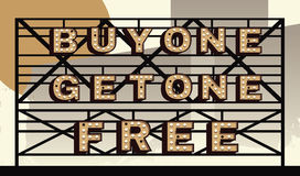 Bogo marquee sign. Marquee sign that says BOGO, buy one get one free Royalty Free Stock Photography