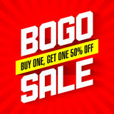 BOGO Sale banner. BOGO Sale, Buy One and Get One 50% Off Sale banner Stock Image