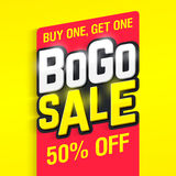 Bogo Sale. Buy one, get one 50% off banner design template Stock Photo