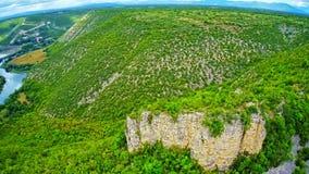 Bogocin fortress, medieval remains aerial shot stock footage