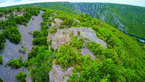 Bogocin fortress, medieval remains on a cliff stock footage