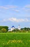 Bogolyubsky meadow and monastery in the village of Bogolyubovo Royalty Free Stock Photography
