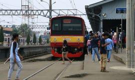 Bogor Railway Station. Bogor, Indonesia - April 14, 2018: Passengers of Commuter Line in Bogor Railway Station in West Java Stock Images