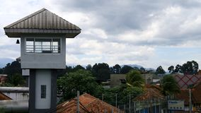 Guard Tower. Bogor, Indonesia - January 3, 2019: Guard tower at Bogor penitentiary, West Java stock images
