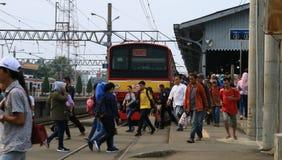 Bogor Railway Station. Bogor, Indonesia - April 14, 2018: Passengers of Commuter Line in Bogor Railway Station in West Java Stock Photo
