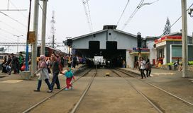 Bogor Railway Station. Bogor, Indonesia - April 14, 2018: Passengers of Commuter Line in Bogor Railway Station in West Java Royalty Free Stock Image